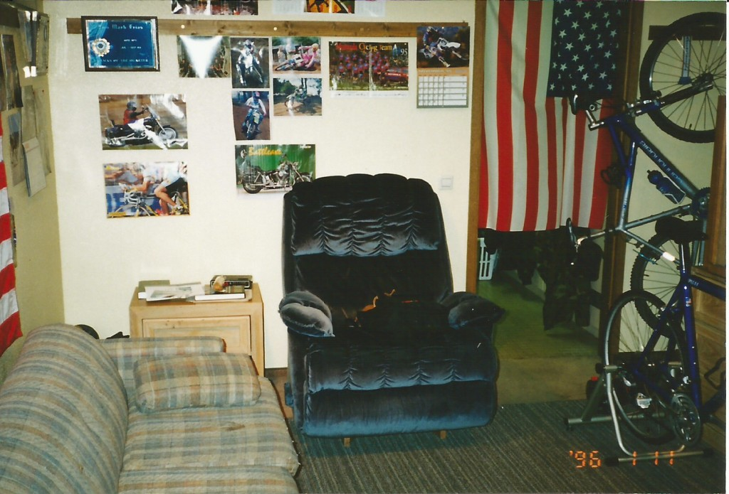 Dorm life in 1996, but there's always room for two bikes : )